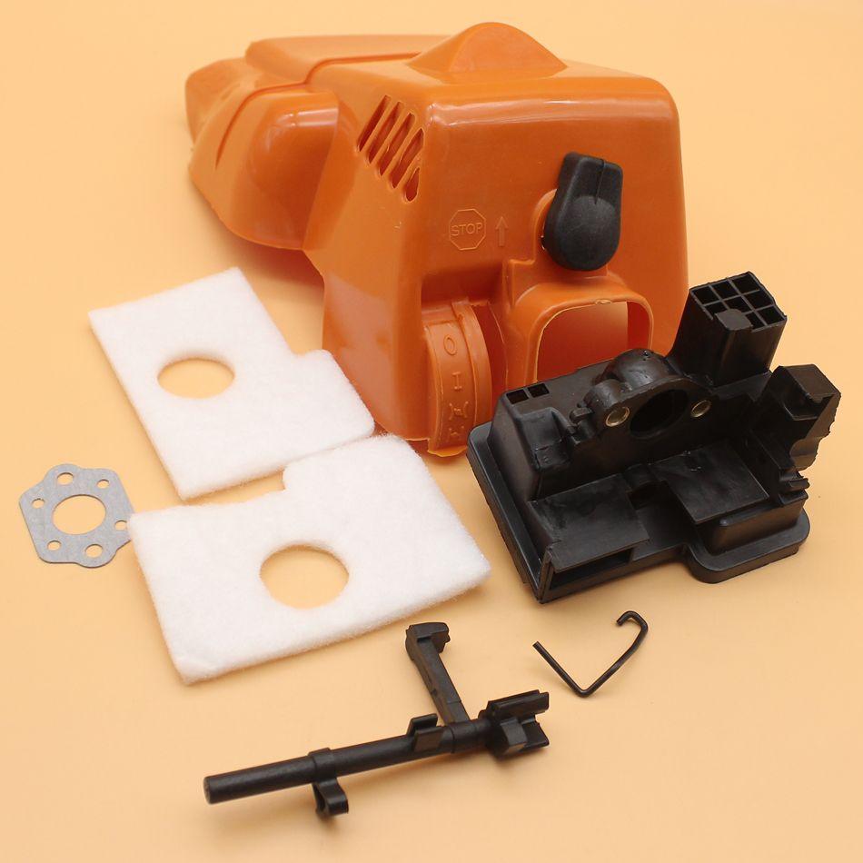 Tapa del motor superior Tapa del filtro de aire Kit del eje del interruptor para STIHL MS 180 170 MS180 MS170 018 017 Piezas de repuesto de la motosierra