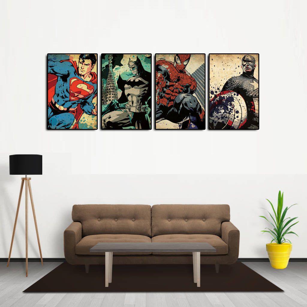 HD Print Oil Painting Home Decor Art On Canvas Superheroes 4PCS Unframed