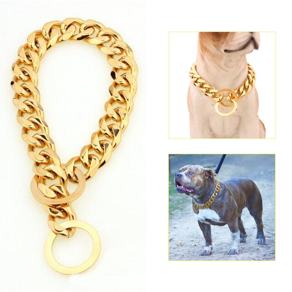 """لوازم الكلب 12-22 """"الكلب سلسلة الذهب طوق 13 ملليمتر واسعة لهجة مزدوجة كبح الكوبي رومبو رابط 316l الفولاذ المقاوم للصدأ بالجملة"""