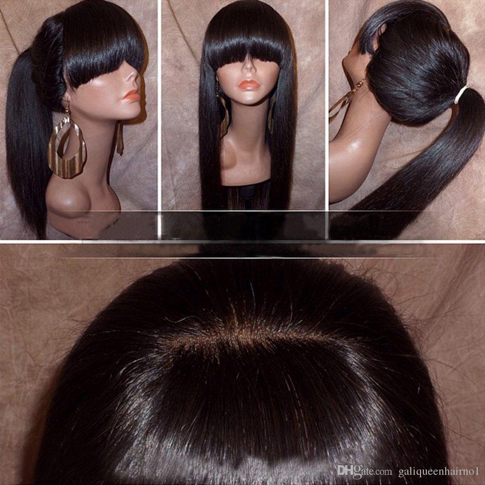 Parrucca anteriore del pizzo diritta seta con full bangts coda di cavallo brasiliana capelli umani vergini pieni parrucche di pizzo per le donne colore naturale