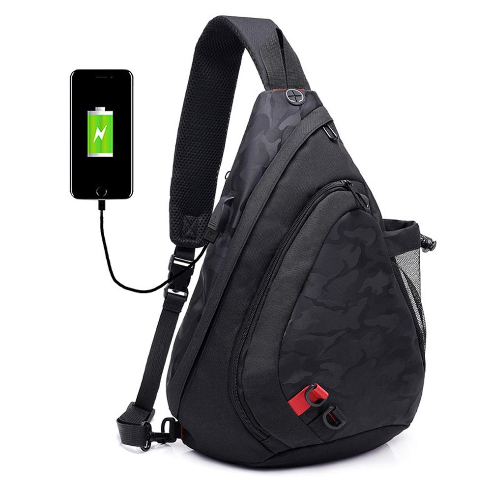 For 2018 Newest Chest Bag With Bag Sling Backpack USB Crossbody Charging Port Shoulder Men Women Obeop