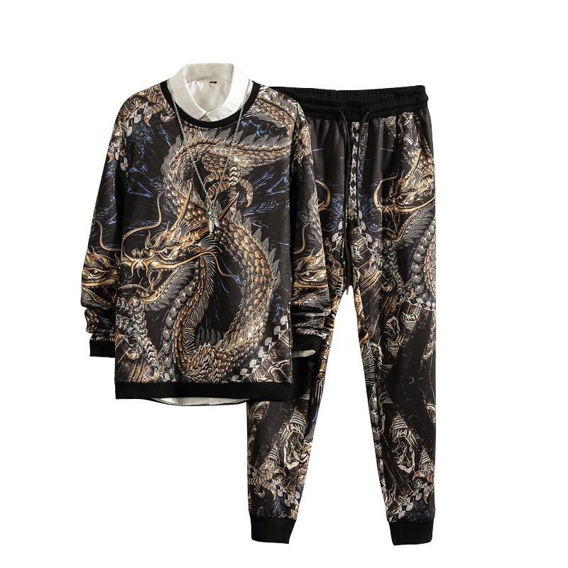 2018 Новый осень китайский дракон спортивный костюм мужчины наборы мужские хип-хоп черный толстовки кофты мужской моды бегуны Sweatsuit 5XL