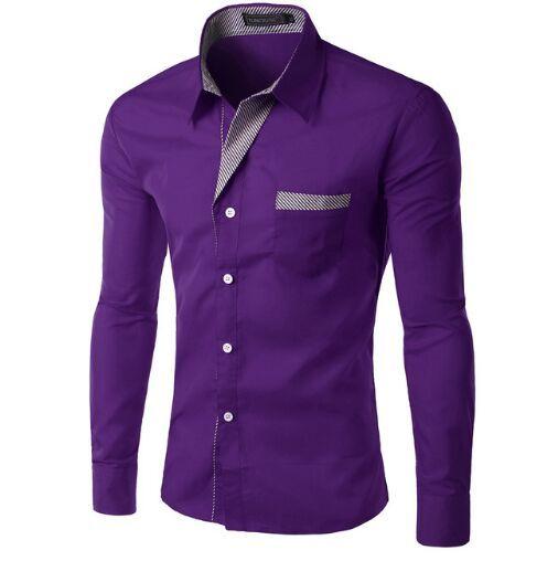 Moda Purpurowy Koszula Z Długim Rękawem Mężczyźni Koreański Slim Design Formalne Casual Męskiej Sukienka Koszula Rozmiar M-4XL