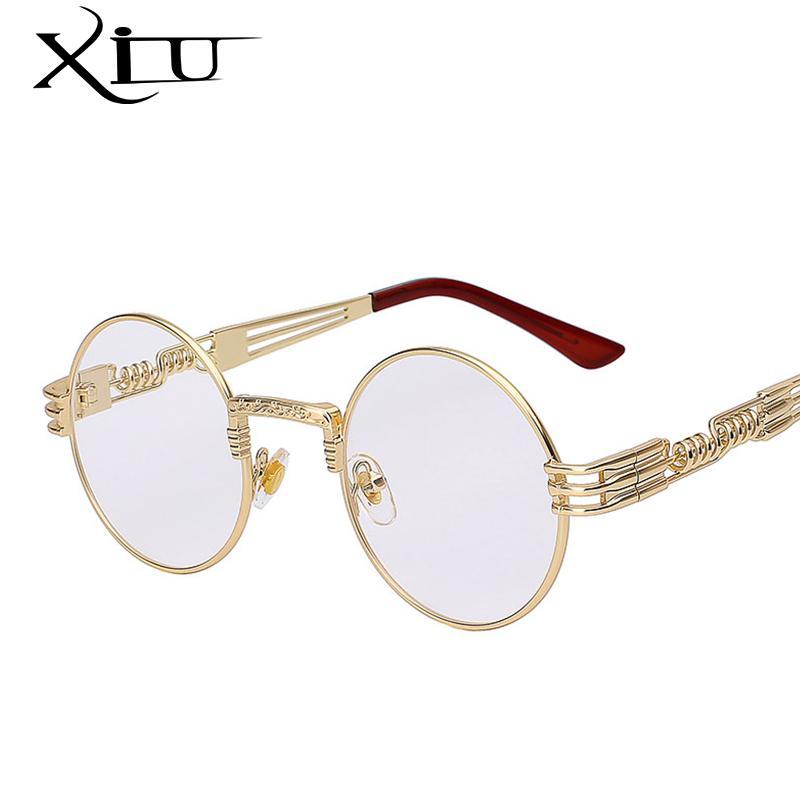 도매 - 고딕 Steampunk 선글라스 남자 여자 금속 WrapEylasses 라운드 음영 브랜드 디자이너 태양 안경 거울 고품질 UV400