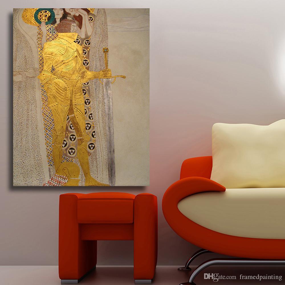 Acheter Toile Art Peinture à L Huile Guerrier à L Armure Dorée Mur Photos Pour Salon Affiche Et Imprime Home Decor Pas Encadré De 26 81 Du
