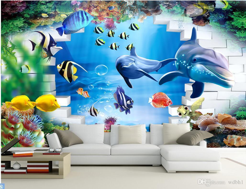 3D 벽지 사용자 정의 사진 수 중 세계 돌고래 벽돌 벽 배경 그림 벽 벽 벽 3D 벽 벽 3 d