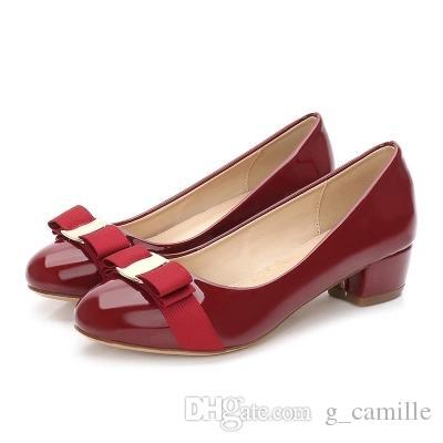 Primavera \ outono moda bowknot sapatos femininos pele de carneiro bombas saltos baixos sapatos de couro salto grosso bombas do dedo do pé redondo tamanho 35-41
