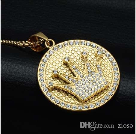 Hip Hop Crown colgante de diamantes de imitación de acero inoxidable collar de color oro collar redondo para hombres joyería bijoux regalos