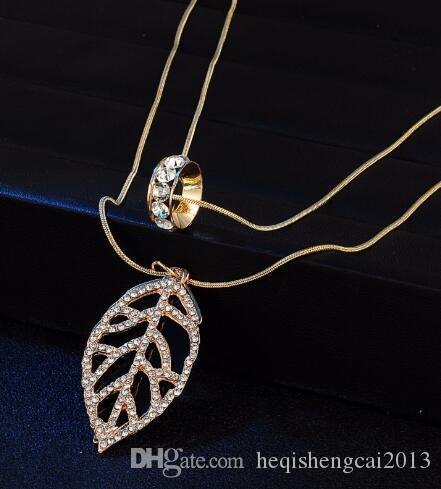 Spedizione gratuita gioielli europei e americani con cristallo oro doppia foglia collana lunga catena maglione classico alla moda delicato