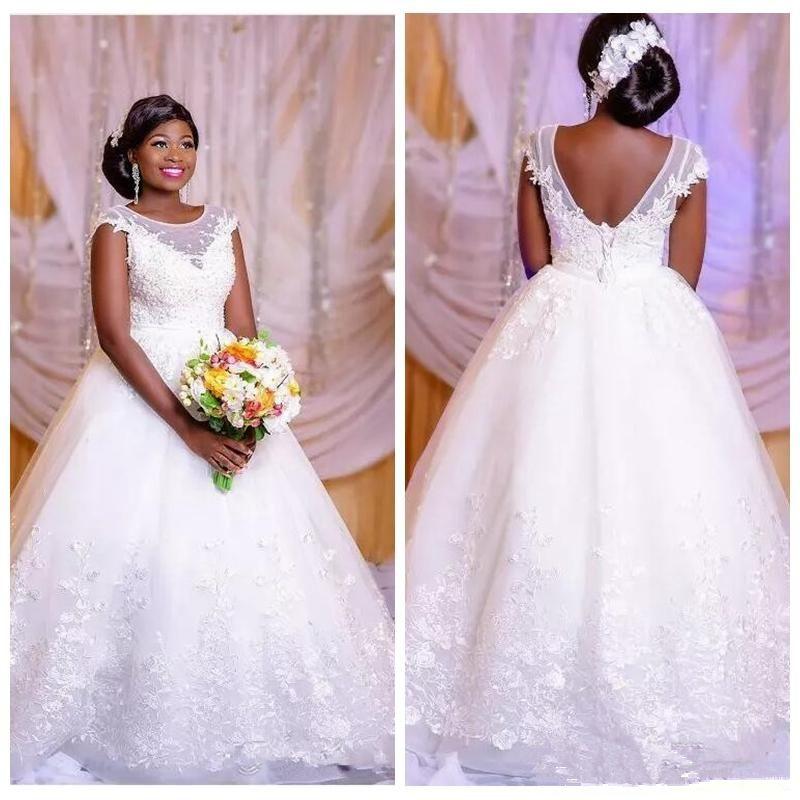 Blancas princesa vestidos de novia de encaje 2019 atractivos del cordón de África hasta sin respaldo Negro niñas más el tamaño de los vestidos del vestido de novia formal,