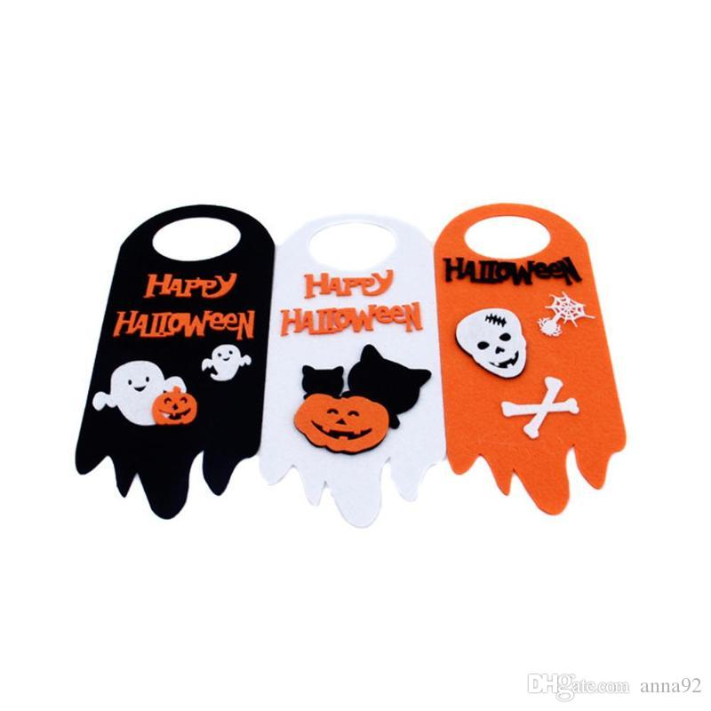 Halloween Party DIY Decorations Pumpkin Doorknob Decor Halloween Ghost Home Decorations Hotel Ornament Halloween Supplies free shipping 2018