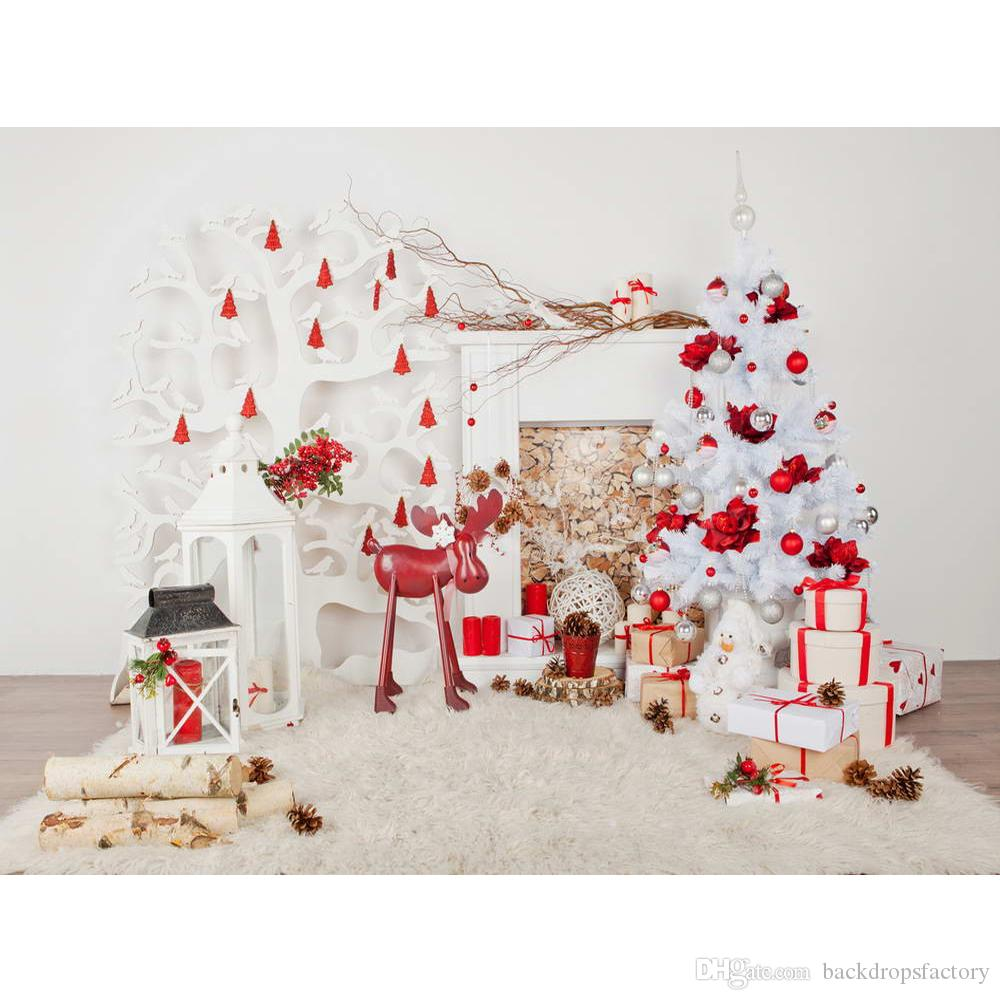 Indoor Xmas Party Photo Booth Background Printed Fireplace White Christmas Tree Presents Toy Horse Kids Photography Backdrops