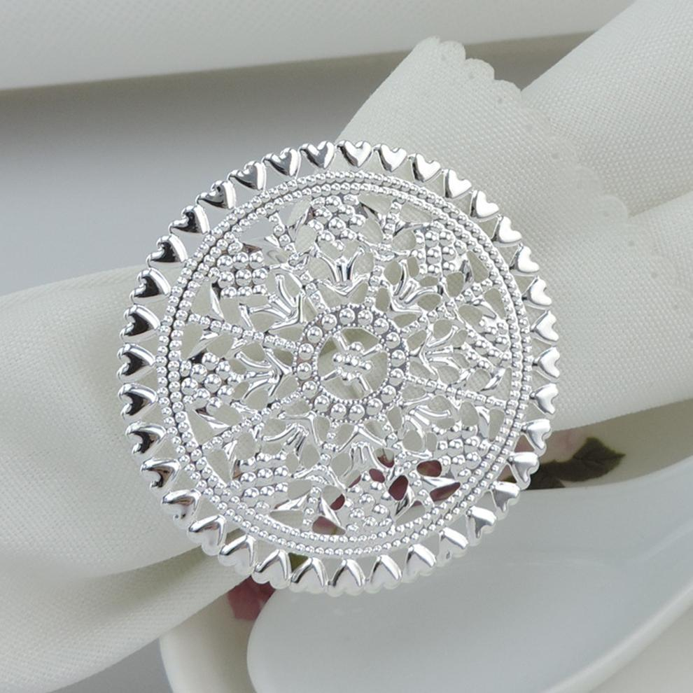 12 pcs/ lot Hotel circle table napkin ring napkin ring Metal sheet towel buckle table decorations