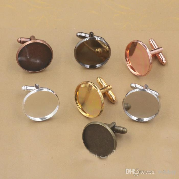 High Quality Silver Colour Cufflinks Blanks Round Bezel Resin Glass Cabochon