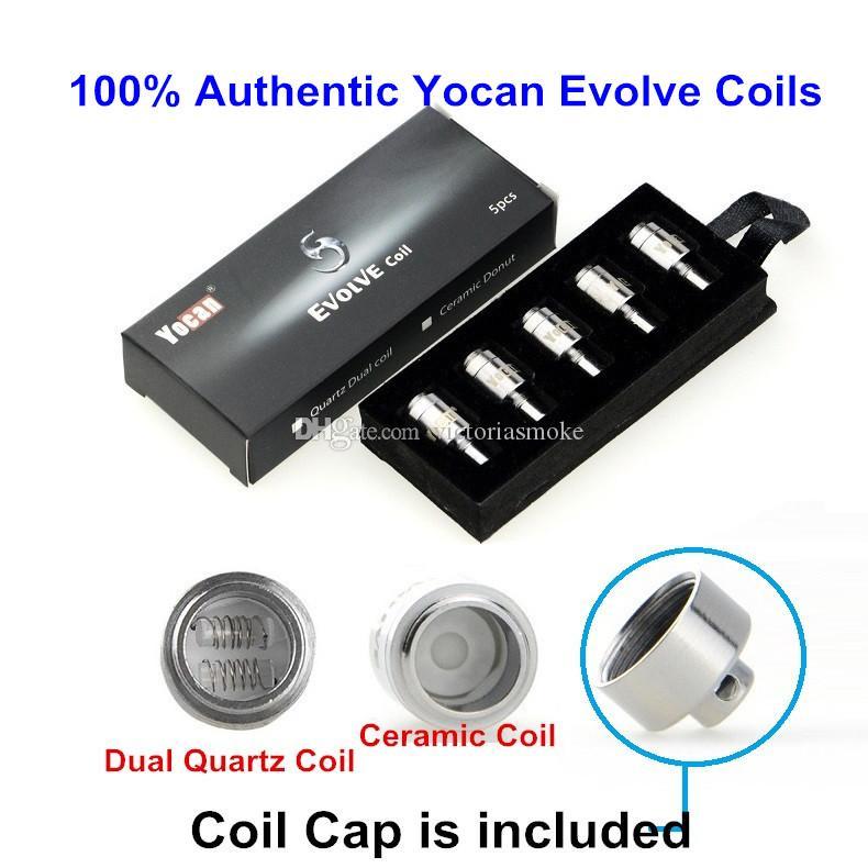 Original Yocan Evolve bobina con bobina bobinas reemplazo bobinas QDC Quatz doble boquilla de cera pura cera bobina 100% auténtico