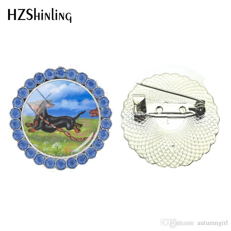 New Cute Dachshund Painting Crystal Brooch Dog Brooches Glass Cabochon Photo Brooch Pin Round Jewelry Clothing Accessories
