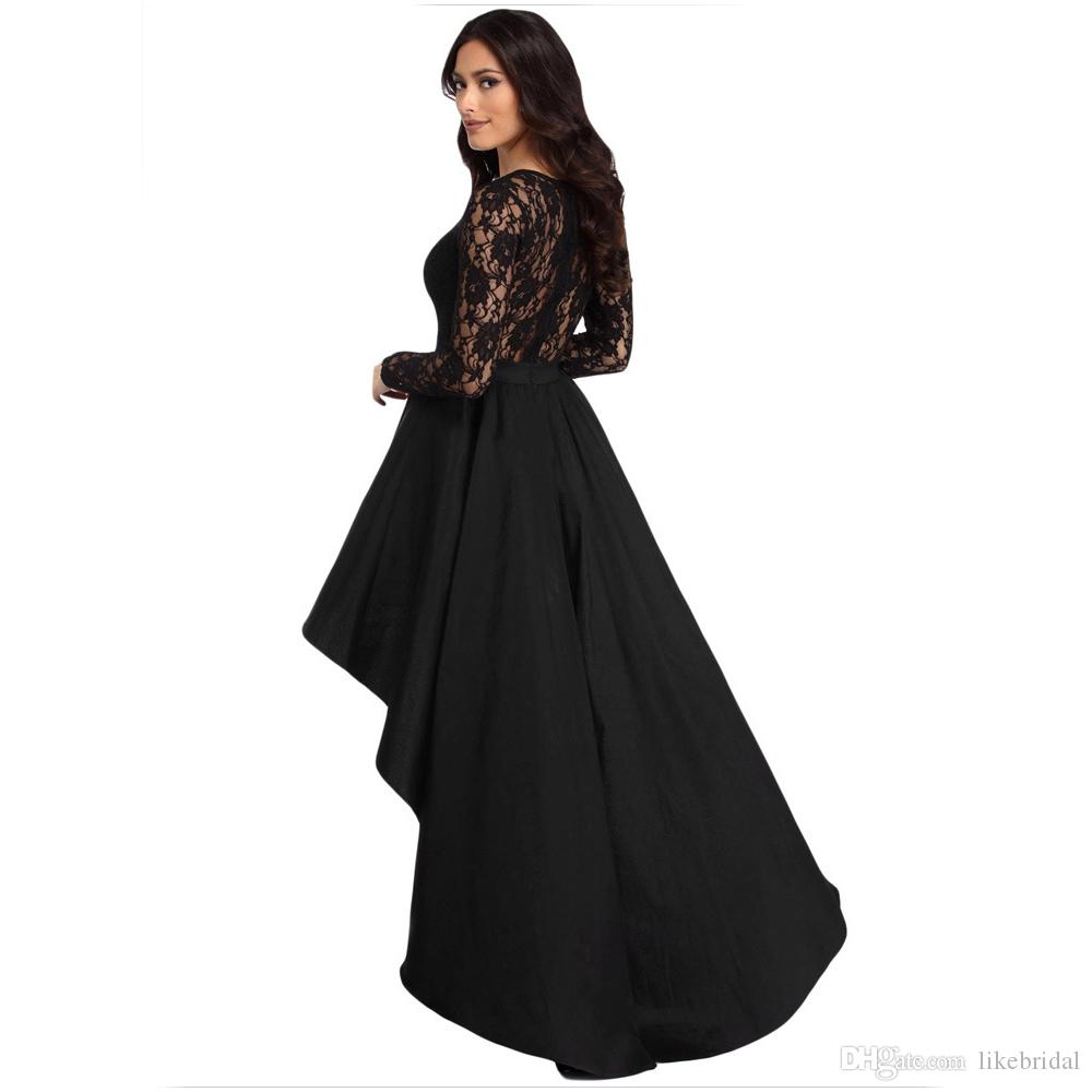 cb95fdf8864e0 2018 New Style Black Dress Lace Long Sleeve Party Evening Gown High Low  Skirt Asymmetrical Plus Size Women Dresses Short Front Long Back Simple ...
