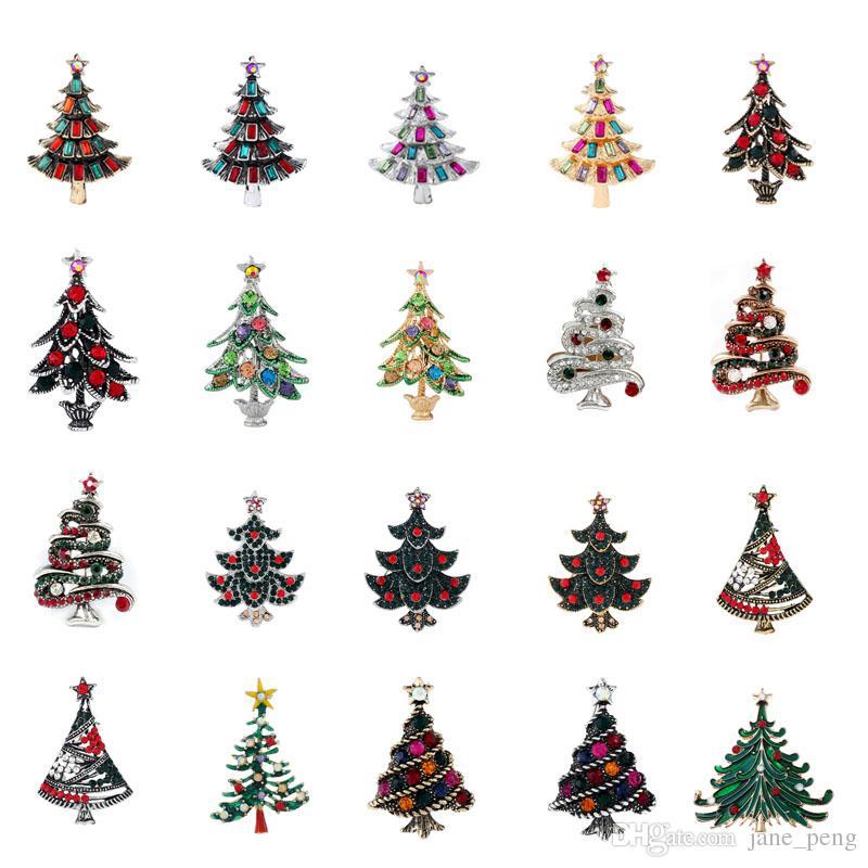 Broches de árbol de navidad para mujeres hombres niños Vintage Crystal Breastpin moda Rhinestone solapa Pin europeo americano insignia broche