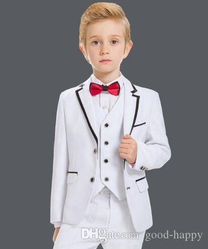 Hermoso botonadura de dos botones en el centro blanco Muchacho de desgaste formal Chaleco de boda de alta calidad para niño Traje de baile de cumpleaños infantil (chaqueta + pantalon + corbata + chaleco) 46
