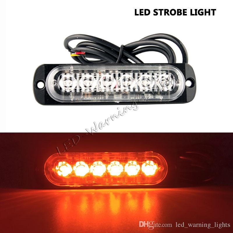 50pcs-6 led strobe light car amber slim led flash emergency grille light for pickup truck tractor trailer heavy-duty trucks warning light