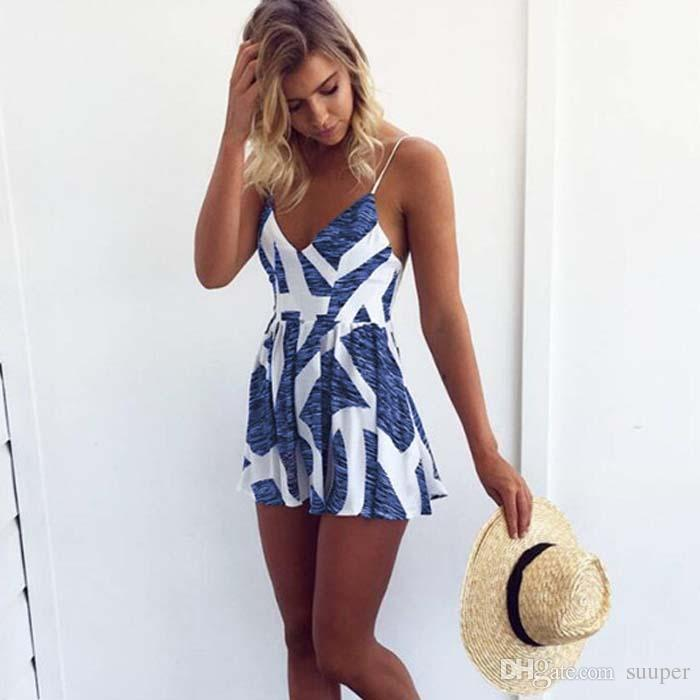 really cheap attractivefashion pretty and colorful 2019 2018 Summer Holiday Floral Print Women Romper Jumpsuit Sexy Flower  Chiffon Cami Strap Beach Romper Playsuit Overalls From Suuper, $22.89   ...