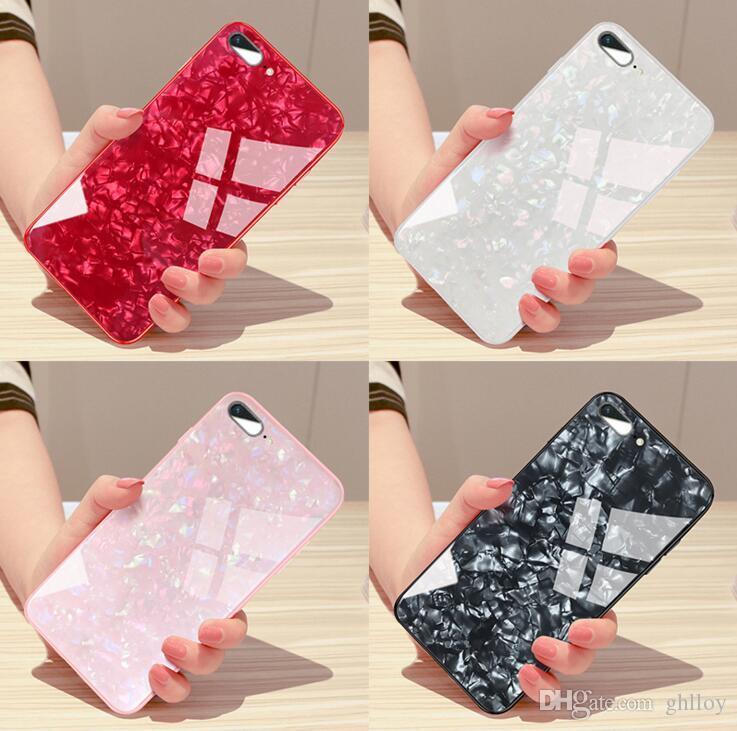 Nouveau De Luxe Shell Motif En Verre Trempé Téléphone Cas Pour iPhone X Belle Couverture Arrière Douce Silicone Bumper Pour iPhone 7 6 S 8 Plus 1 pcs