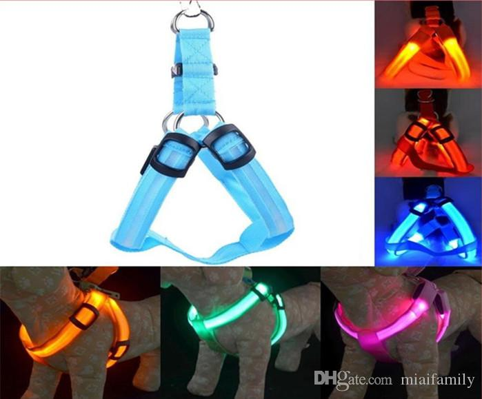 LED Pet Harness Dog Collars Cat Leashes Flashing Light Collar Glow Safety Dogs Puppy Cats Harnesses Supplies Pet Leash Hot Sale
