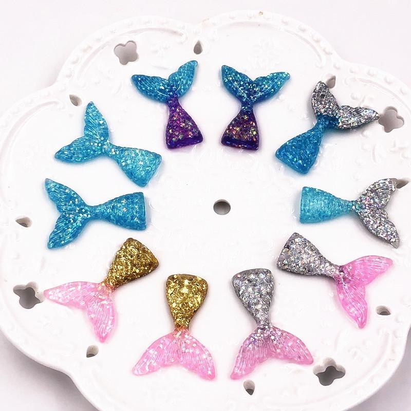 2//10Pcs Cute Mermaid Pattern Key Chain DIY Necklace Pendant Resin Craft Decor