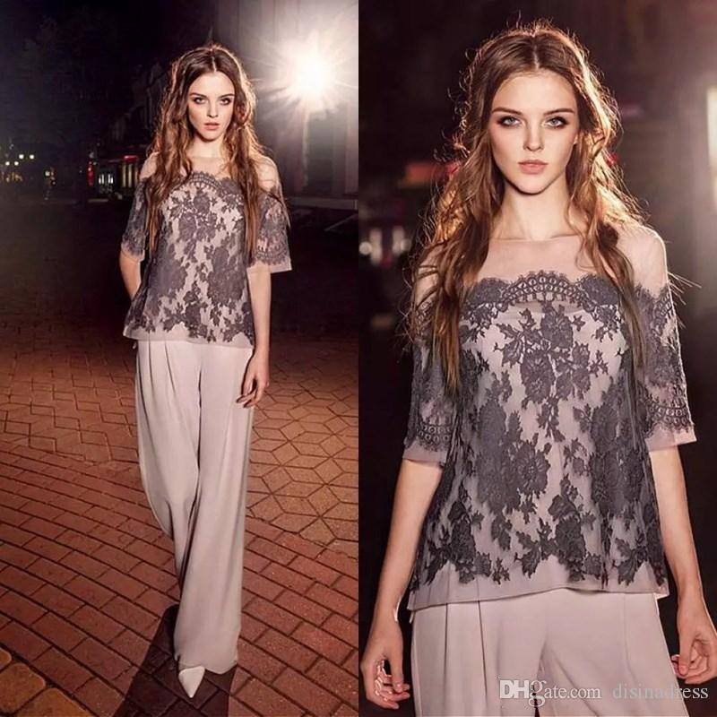 Elegant Two Pieces Lace Mother of the Bride Pant Suits With Half Sleeves Summer Chiffon Wedding Guest Dress Plus Size Formal Mother Dress