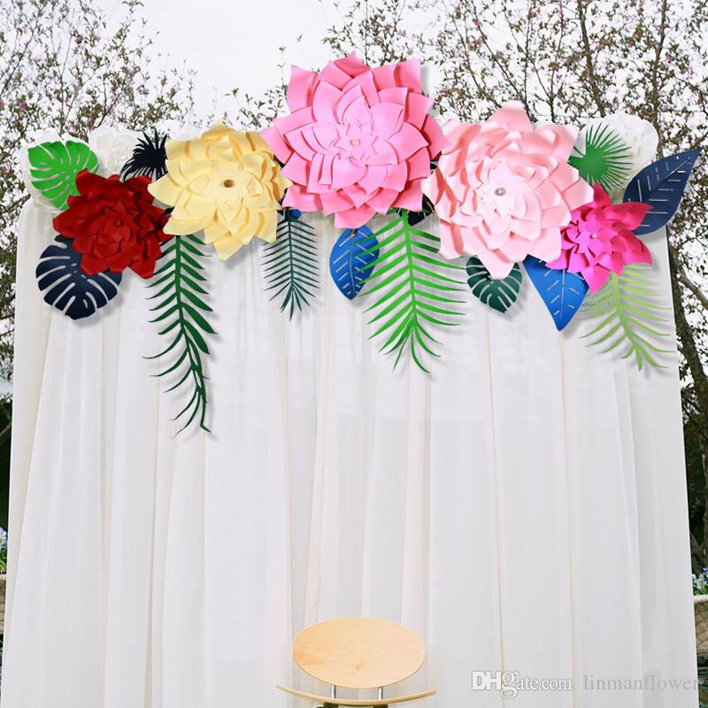 30 سنتيمتر كبير ثلاثي الأبعاد محاكاة طاحونة ورقة زهرة الزفاف خلفية زهرة جدار مرحلة نافذة خلفية الصورة استوديو ديكور