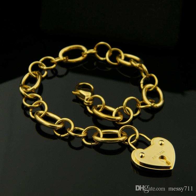 free shipping fashion new model classic stainless steel big heart with lock round chain lady Lobster clasp bracelet