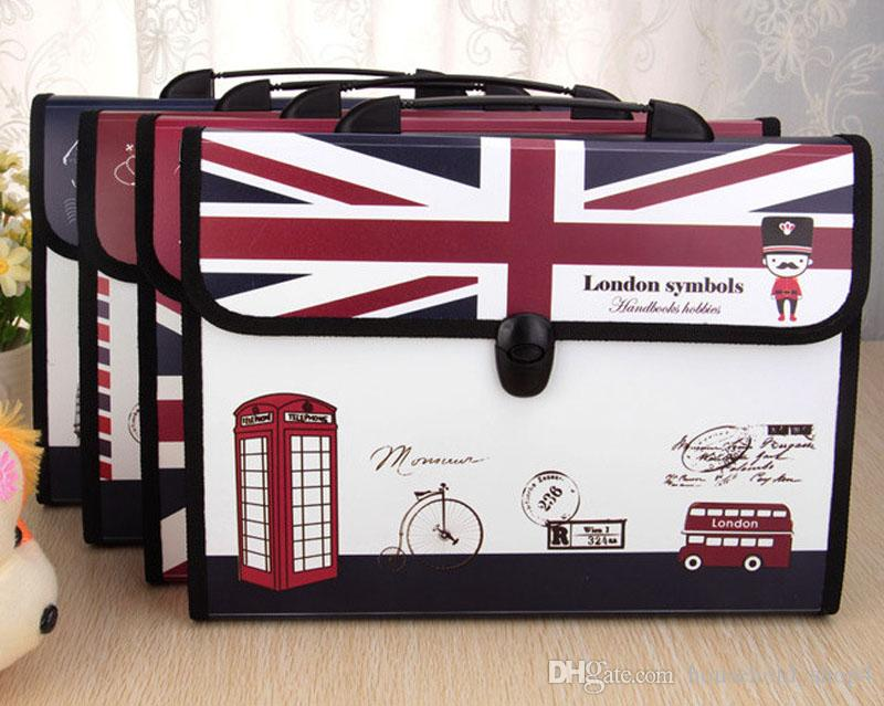 Classic expanding file Accordion Hand Bag Multifunctional Multilayer folder document data package A4 3Inches Briefcase paper folder