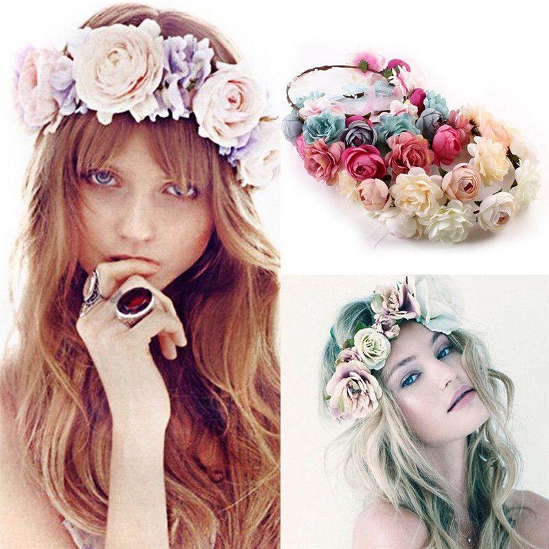 6 adet / grup Yeni Moda Düğün Çelenk Çiçek Hairband Aksesuarları Bohemia Çiçek Kafa Saç Bandı Kızlar Kadınlar için Plaj Seyahat Şapkalar