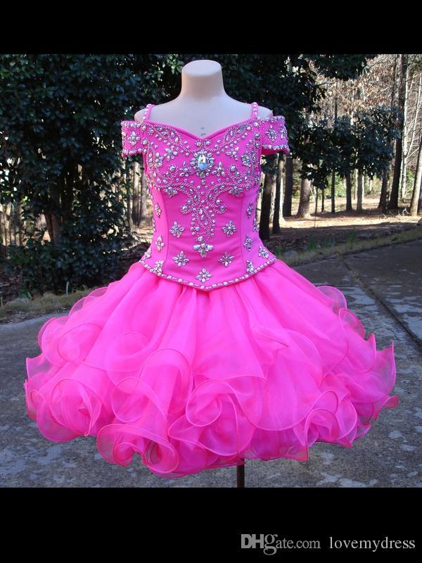 الأزياء الباردة الكتف فساتين بنات مسابقة ملكة الوردي الساخن الكرة بثوب كب كيك للأطفال الأطفال الأورجانزا بلينغ الراين زهرة البنات اللباس رخيصة