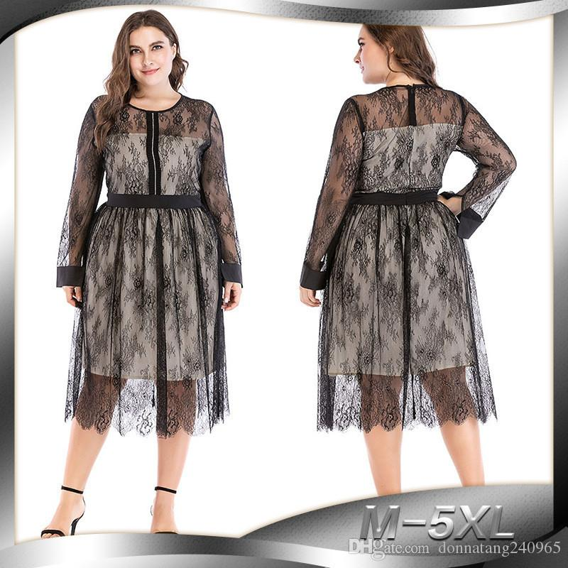 Plus Size Women Lace Mesh Dress Summer Long Sleeve Black Lace Dress Women Sheer O Neck Casual Beach Dresses Long Vestidos