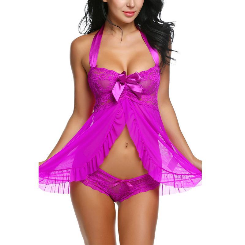 Robe do dia dos namorados trajes sexy halter nightwear babydoll sexy mulheres erótico nightwear dress arco tentação brinquedo sexual lenceria 31027 y18102206