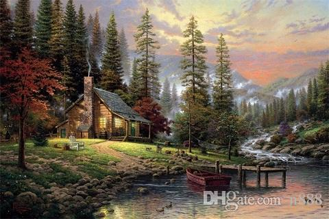 Thomas Kinkade cottage by river Handpainted & HD Print landscape Art Oil Painting On Canvas,Home Deco Wall Art Frame Options l168