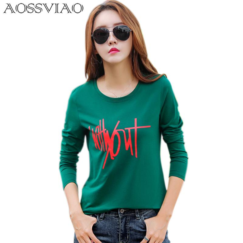 Chemise Sleeve Plus 2018 Harajuku T-shirt Femmes T automne hiver Casual Tops Lettre T Tees Print Tableau O-Cou Taille Punk Land Shirt QFNTM