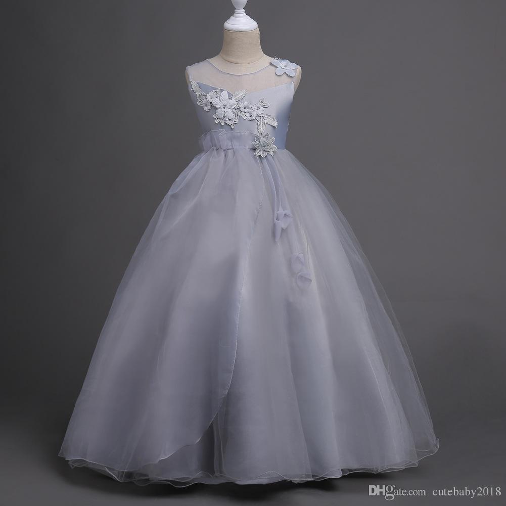 Großhandel Mädchen Party Hochzeit Kleid Für Jugendliche Mädchen Kleidung  14 Kinder Weiß Ärmellose Prinzessin Kleid Mit Schleife Von Cutebaby14,