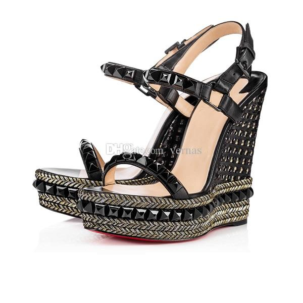 Excellent Women's Red Bottom Cataclou Wedge Sandals With Stud Black,White Leather High Heel Ankle Strap Gladiator Sandals Ladies Dress