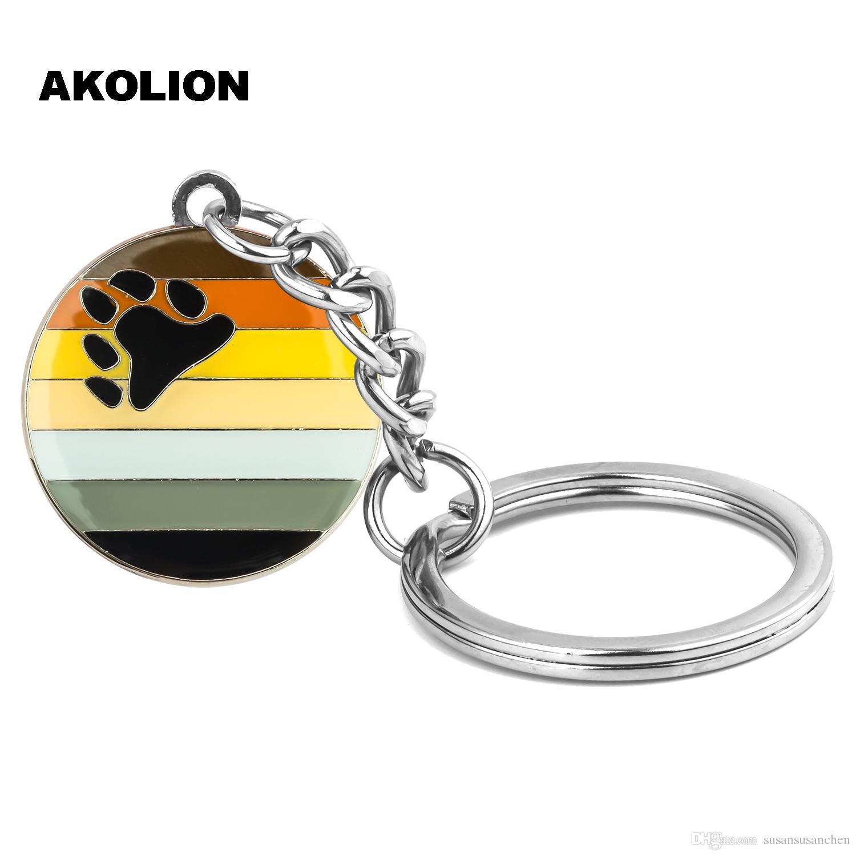 Gay Pride Bear Porte-clés Porte-clés Métal Porte-clés Bijoux pour les amoureux