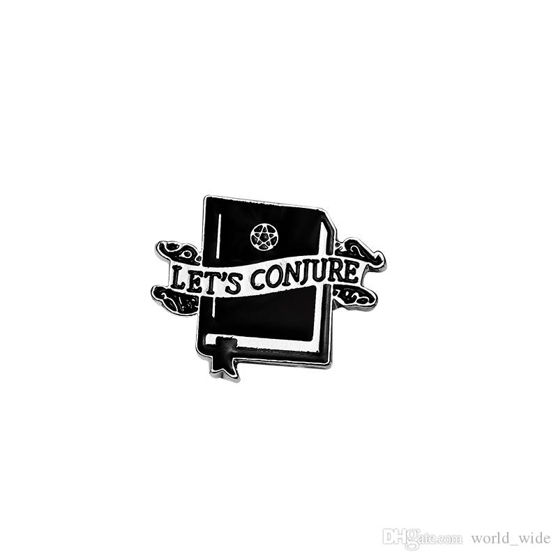 LET'S SEEK HIDE PLAY CONJURE Enamel Pins Coffin Witch book Magic ball Badge Gothic Brooches Dark Jewelry Gift for Women