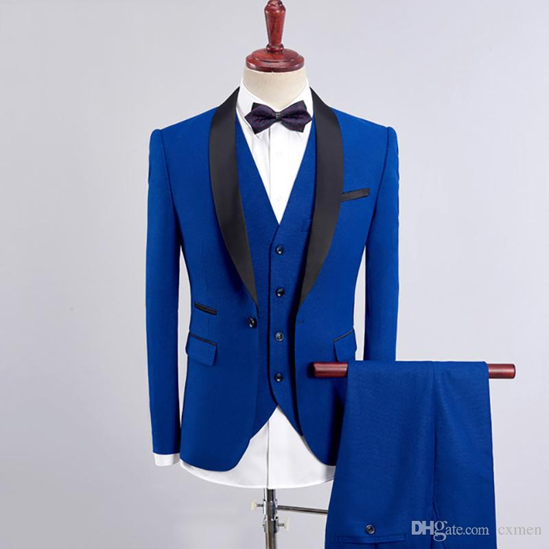 Royal Blue Men Suits 2020 Wedding Navy Blue Slim Fit Groom Tuxedo Burgundy Male Blazer Black Shawl Lapel Prom Wear 3 Piece Jacket+Pants+Vest