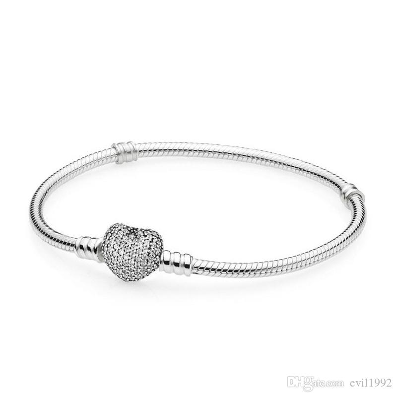 1pcs Dropshipping Braccialetti di cristallo con zircone Braccialetto in argento adatti a Pandora Catena di serpente Donne Girl Regali BR007