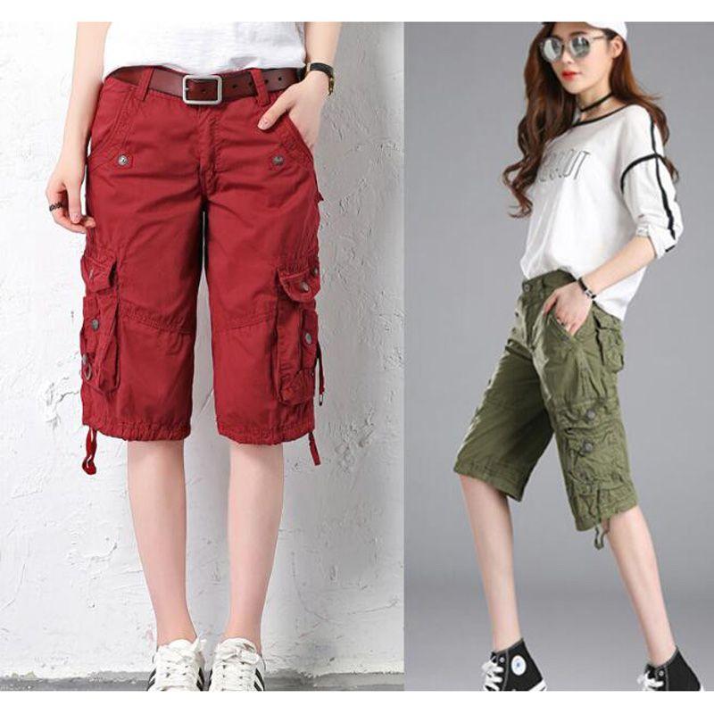 Donne Cargo Shorts Tasche Shorts ginocchio Button Streetwear Pantaloni Solid pantaloni larghi brevi