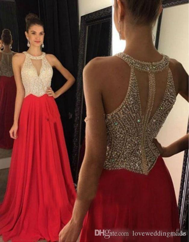 Sexy De Cristal Frisado Chiffon Vermelho Vestidos De Noite Até O Chão De Volta Zipper Longo Vestidos De Baile Personalizado Marido