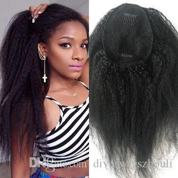 Coda di capelli crespi diritti umani Coda di cavallo Colore naturale nero 100g-160g Clip di estensioni brasiliane nei prodotti dei capelli dell'afroamericano di Remy