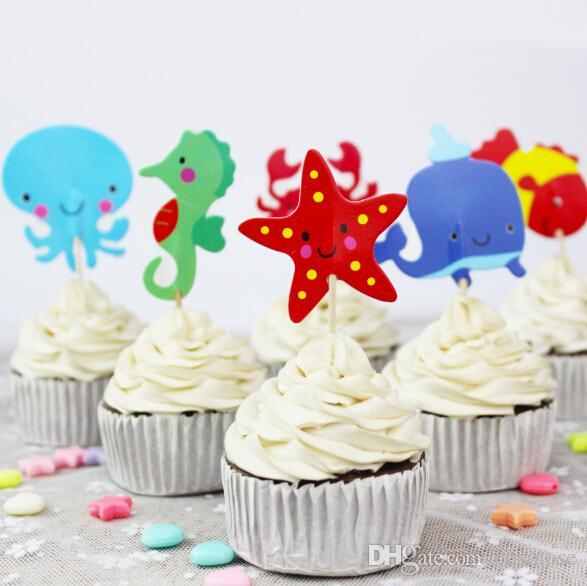Strange 2020 Underwater World Sea Animals Cake Toppers Fish Crab Seahorse Birthday Cards Printable Giouspongecafe Filternl