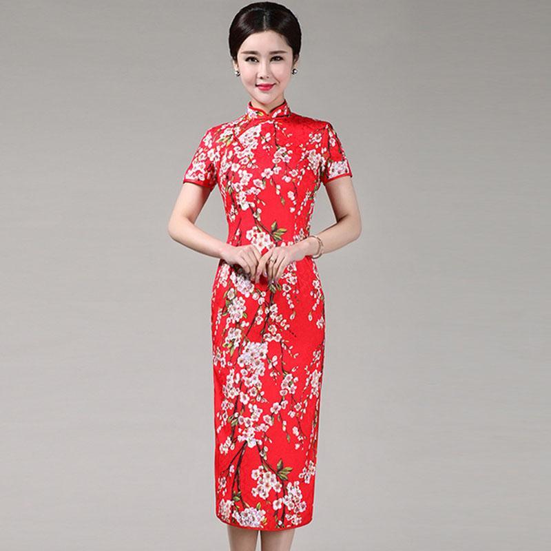새로운 중국어 번체 의류 Cheongsams 코 튼 긴 빨간 신부 드레스 Cheongsam S M L XL