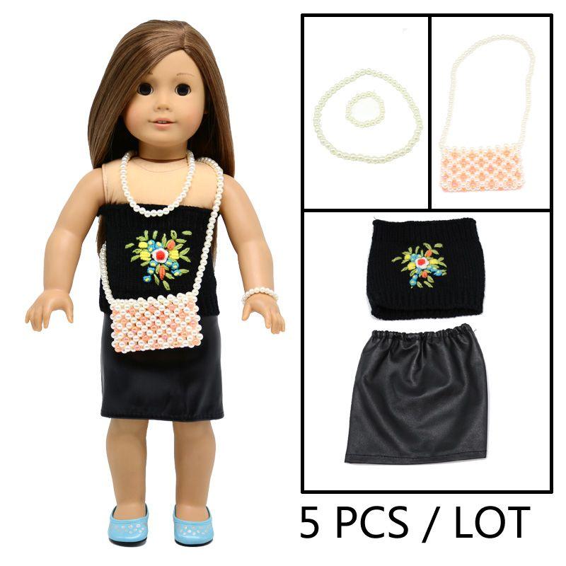 "18/"" inch doll outfit dress jumper leggings jacket glasses case bag headband pant"